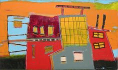 Blue House with Stripes : Archive of Sold Work : Susan Finsen - Mark Maker