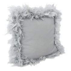 Silver Mary Feather Trim Pillow