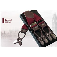 6 Clips Leather Suspender