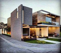 Design Exterior, Facade Design, Modern Exterior, Modern Architecture House, Facade Architecture, Residential Architecture, Villa Design, Bungalow House Design, Modern House Design