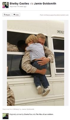 A Son hugging his soldier ........Thanks for breaking my heart, pinterest...-_-
