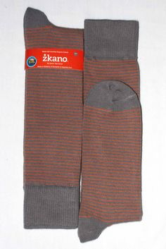 Grey Orange Stripe USA Made Organic Mens Dress Sock - zkano