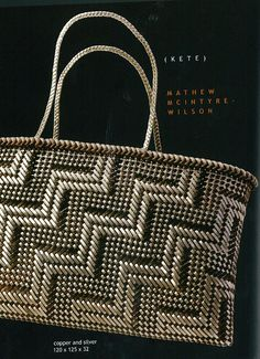 Matthew McIntyre Wilson - Copper and Silver Kete Flax Weaving, Weaving Art, Basket Weaving, Weaving Designs, Weaving Patterns, Maori Designs, Nz Art, Pattern And Decoration, Maori Art