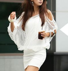 Solid Color Hollow Out Ladylike Style Packet Buttock Cut Out Bat-Wing Sleeves Dress For Women, on SALE for just 8,41$