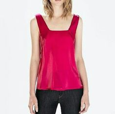 Zara Fuschia top Zara Fuschia hot pink Square Neck Line. New. Size M. W/tag Zara Tops Tank Tops