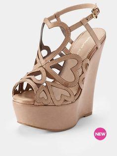 KGKutie Leather Heart Wedge Heels