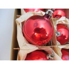 Boxes of Red Ball Christmas Ornaments 2 Fantasia Brand Red Ball Tree... ($9) ❤ liked on Polyvore featuring home, home decor, holiday decorations, xmas ball ornaments, red home accessories, christmas ball ornaments, red ornaments and red christmas tree ornaments