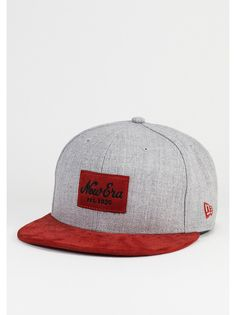 0a578843f55 New Era Fitted-Cap Suede Patch grey scarlet