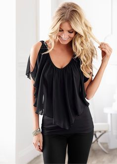 Cold shoulder flutter top from VENUS women's swimwear and sexy clothing. Order Cold shoulder flutter top for women from the online catalog or Black Cold Shoulder Top, Shoulder Tops, Shoulder Shirts, Chiffon Shoulder, Look Fashion, Womens Fashion, Fashion 2018, Chiffon Shirt, Chiffon Blouses