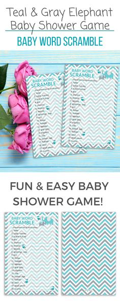 These Teal Blue and Gray Elephant Themed Word Scramble Game Cards are perfect for Boy Baby Showers.