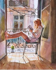 Me gusta, 23 comentarios – Inspiring Watercolours ( … - Art Painting Art And Illustration, Watercolor Illustration, Cartoon Kunst, Cartoon Art, Art Du Croquis, Art Mignon, Reading Art, Woman Reading, Reading Quotes