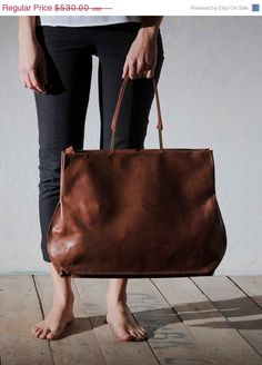 SALE 25 OFF Chestnut brown leather bag Large handmade by OneDuo, $397.50