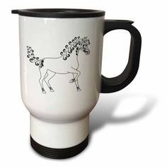 3dRose Horse Lover Gifts - Tattooed Horse Outline - White and Black, Travel Mug, 14oz, Stainless Steel