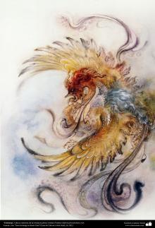 Simurg ,heads of Persian miniature artist Mahmoud Farshchian Professor Mythical Flying Creatures, Phoenix Painting, Persian Culture, Graffiti Painting, Chicken Art, Iranian Art, Learn Art, Dragon Art, Animal Paintings
