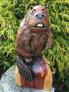 Chainsaw Carved BEAVER Red Cedar Wood Carvings Beavers Sculptures Whimsical Folk Art Unique Beaver Wood Carvings Beaver Statues Chainsaw Wood Carving, Wood Carving Art, Wood Carvings, Wood Sculpture, Sculptures, Red Cedar Wood, Lake Decor, Beavers, Folk Art