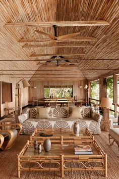 See all our stylish living room design ideas on HOUSE - design, food and travel by House & Garden, including a redesigned bamboo house on the Caribbean island of Mustique Rest House, House In The Woods, Rural House, Tiny House, Tiki Bars, Interior Tropical, Rattan, Wicker, Nachhaltiges Design