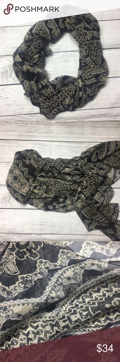 "🆕Gorgeous black abstract print sheer scarf. 🆕Gorgeous black abstract print sheer scarf. Can help dress an outfit up. Colors are black, gray and creamLooks so stylish and adds a modern classy look to your wardrobe. Made out of 100% polyester materials. About 75"" in length ❤ Dorimas Closet Accessories Scarves & Wraps"