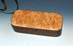 Maple Burl on Walnut Handmade Wooden Pen Box by BurlWoodBox - Small Wood BoxSmall Wood Jewelry Box USA Made Wooden BoxesWood Keepsake box by BurlWoodBox