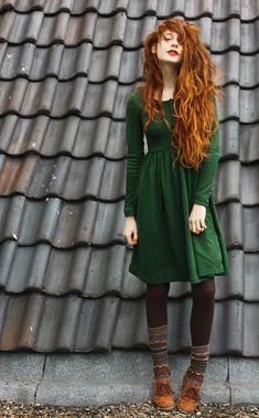 Auburn Hair. Army Green Dress. Tights and add some boots. SHE IS GORGEOUS