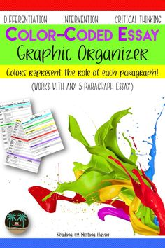 Support middle and high school students by providing them with a color-coded graphic organizer for their five-paragraph essay. This writing graphic organizer from Reading and Writing Haven works well for differentiation, modifying assignments, encouraging critical thinking, and creative discussions.