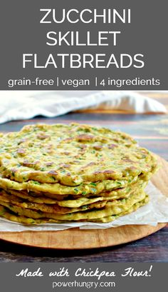 Got zucchini? Make Zucchini Flatbreads! They are g each) easy to make and require only Perfect for sweet or savory toppings/fillings, or customize the batter with fresh herbs & spices. Vegan Zucchini Recipes, Veggie Recipes, Lunch Recipes, Whole Food Recipes, Vegetarian Recipes, Cooking Recipes, Healthy Recipes, Healthy Zucchini, Recipes Dinner
