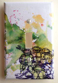 Teenage Mutant Ninja Turtles Outlet Decorative Light by idillard Ninja Turtle Bathroom, Ninja Turtle Room, Kids Bedroom, Bedroom Ideas, Monster Room, Decorative Light Switch Covers, Sweet Home Design, Man Room, Fashion Room