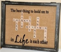 Custom Scrabble Tile Family Shadow Box by FrameANameCo on Etsy Scrabble Tile Crafts, Scrabble Wall Art, Scrabble Letters, Cute Crafts, Crafts To Make, Shadow Box, Craft Gifts, Diy Gifts, Cuadros Diy