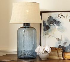 Clift Glass Table Lamp Base - Light Blue #potterybarn  Must craft because $170.00 is too steep for this look.