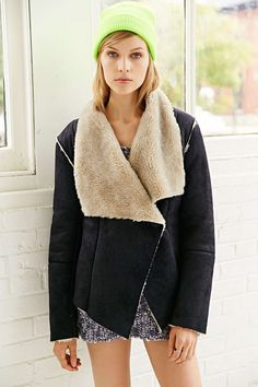 BB Dakota Foster Faux-Suede Drapey Jacket - Want this coat for ever and ever!!