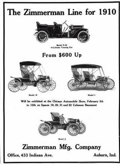1910 Zimmerman Automobile Advertisement