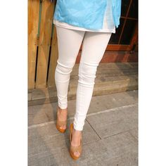 Simple Elastic Waist Candy Color Pockets Thick Skinny Women's Leggings, WHITE, ONE SIZE in Leggings | DressLily.com