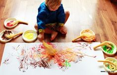 painting with spaghetti 'brushes' - cook just half the noodles --- the end 'art' is gorgeous in a frame!