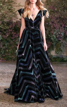 Velvet Printed Flock Dress by LUISA BECCARIA for Preorder on Moda Operandi