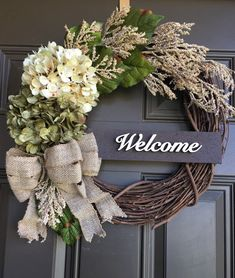 Hydrangea front door wreath - everyday wreath with accent - welcome wreath - summer wreath - front door decor - Year round wreath - gift - - Front Door Decor, Wreaths For Front Door, Front Doors, Door Hanging Decorations, Diy Wreath, Grapevine Wreath, Wreath Ideas, Burlap Wreaths, Mesh Wreaths