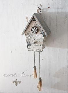 French script birdhouse @ Cloth and Patina