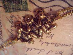 """3 wise monkey's"" bracelet - Vintage Laura xx    http://www.facebook.com/VintageLaura"