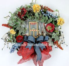 Custom Front Door Wreath-Apartment Front by WreathRibbonsAndBows