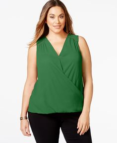 37aef254af5 Inc International Concepts Plus Size Sleeveless Faux-Wrap Top