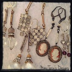 A sampling of my newest Mimi-Toria's Designs one of a kind vintage redesigned earring collection. They are created using Sterling Silver or Antiqued sterling silver lever back ear wires with a combination of beautiful found vintage elements.  Genuine cameos, Sterling silver Victorian Era links, Mercury glass, Italian blown glass pearls and gemstones.