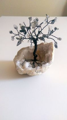 Tiny Tourmalinated Quartz on Quartz Cluster WIRE GEM TREE of Life Sculpture by spiritgemdesigns on #Etsy #handmade #crystals #gemstones