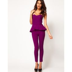 d5e88288c3ac ASOS Peplum Frill Jumpsuit ( 27) ❤ liked on Polyvore featuring jumpsuits
