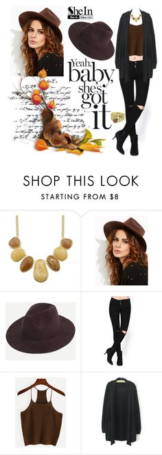 """SHEIN: Coffee Stylish Fedora Hat"" by rmhodgdon ❤ liked on Polyvore featuring shein"