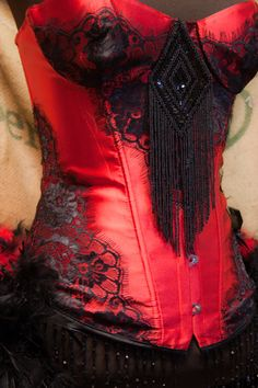 PHOENIX Burlesque Steampunk Costume Corset dress red black sexy feather bustle on Etsy, $195.00