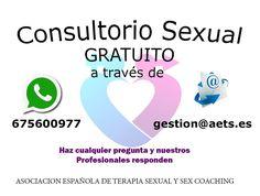La Asociación Española de Terapia Sexual y Sex coaching ha creado un CONSULTORIO DE PAREJA Y SEXUAL ON LINE En la Asociación creemos que igual que preguntamos por una calle al perdernos en una ciudad desconocida, deberíamos preguntar todo aquello que nos preocupa, dudamos o simplemente, no nos permita disfrutar de nuestra sexualidad libre y plenamente. Toda la información pinchando en la Foto o en http://aets.es/consultorio-de-pareja-y-sexual