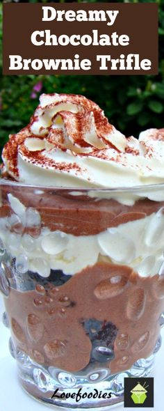 Dreamy Chocolate Brownie Trifle. Come and see the goodies in this lovely chilled dessert! | Lovefoodies.com