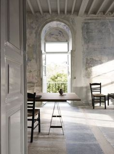 donna_più stone and wood floor combined, great distressed paint on walls