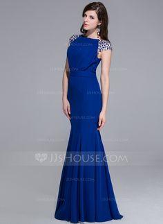 Trompete/Sereia Decote redondo Chá comprimento De chiffon Vestido de festa com Bordado (017025435)