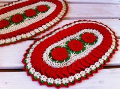free ruffled rose hot plate mats