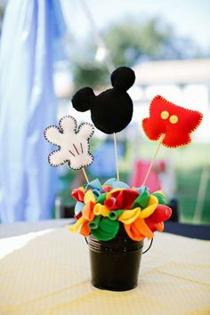 Items similar to Mickey Mouse Clubhouse Themed Centerpiece Parts WITH balloon base/buckets, mickey party, Mickey Mouse clubhouse party on Etsy Mickey Mouse Birthday Decorations, Mickey Mouse Centerpiece, Mickey Mouse Photos, Theme Mickey, Mickey Mouse Clubhouse Birthday Party, Mickey Mouse 1st Birthday, Mickey Mouse Parties, Elmo Party, Elmo Birthday
