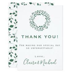 Rustic Greenery | Wedding Thank You Card